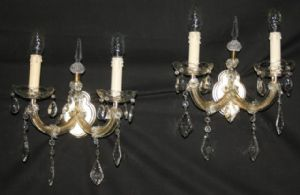TWO VINTAGE FRENCH MARIE THERESE WALL LIGHTS, PAIR  GLASS DOUBLE  SCONCES.  -Ref: AAP30